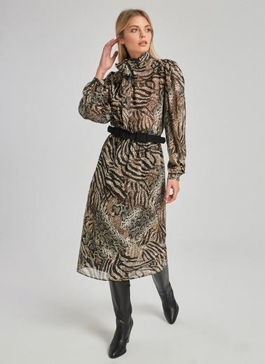 People By Fabrika Zebra Desenli Bağlamalı Elbise Bej